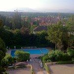 vue depuis les chambres avec vue sur lac et Mont Blanc