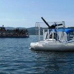 Hovercraft leaving dock