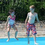 Our children enjoying the lovely courtyard pool