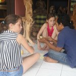 Our daughters doing a workshop soapcarving with Ketut