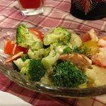Broccoli and cauliflower with salad dressing