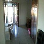 bedroom area through to balcony