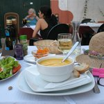 soup, salad, wine, locals