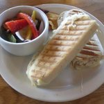 A mozzarella chicken panini and a rough-chopped salad, both good.