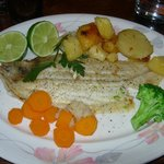 Grilled sole, saute potatoes & vegetables