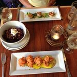 Scallops, beet salad and salmon fritters