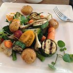 Special vegan dish made for me by the chef. Gorgeous veggies cooked to perfection with lovely sa