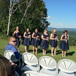 Wedding party atop mountain