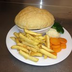 Steak And Ale Pie with chips and veg