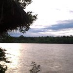 The front rooms have view on river Napo, while the sunset and the moon reflect in the same view.