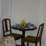 Our breakfast table. There is a small kitchen also with fridge/microwave/kettle etc.