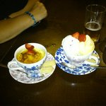 Creme Brulee and mixed ice - cream