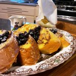 Crusty French Bread with Blueberry Sauce