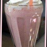 Real strawberry and banana milkshake