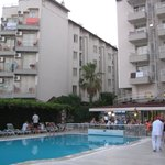 view of the hotel's different blocks from the restaurant by the pool