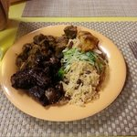 Petite Platter with braised oxtail and curry goat