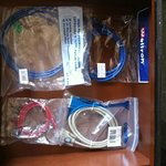 the contents of the drawer for hooking up with internet, video, etc.  Very handy for a business