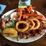 full rack if ribs, with sweet potato fries (ordered separately as this comes with normal fries),