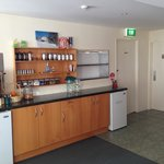 Servery with fresh fruit, afternoon tea, coffee and guest fridges