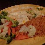 Spinach, shrimp and avocado enchilada