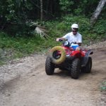 Driving the ATVs.