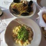 pasta with seafood and pesto gnocchi