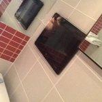 new bathroom with auto light and splash proof tv!