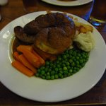 Lincolnshire sausages, yorkshire pudding, chips and veg.