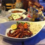 Grilled octopus, greek salad and saganaki
