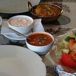 Tandoori chicken, raitha, tikka sauce, rice