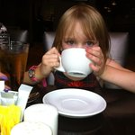 My daughter sampling the tea