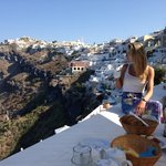 View from Breakfast Balcony of Fira in background... Food was great too!