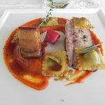 Poitrine de porc du pays et ses raviolis