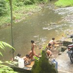 Kids playing in the river aroung VAK