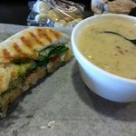 half of a small chicken pesto panini and baked potato soup - delicious!