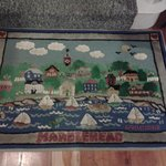 Beautiful mat that takes you upstairs in the inn