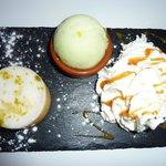 tarte au citon meringué,glace citron vert chantilly