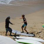 Start of the surf lesson.