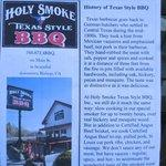 Holy Smoke menu.