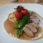 Pork Loin, Smoked Lancashire cheese Bubble and Squeak, cherry tomatoes , mange tout and hoisin j