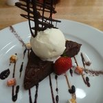 The Chocolate Brownie with Coconut Ice Cream and marshmallow