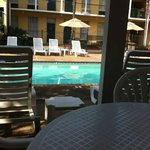 view from under covered area at pool. Great for when you need shade!