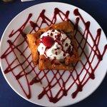 Fried raspberry cheesecake