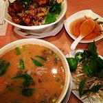 rare beef pho sate, curry chicken and shrimp... amazing!
