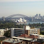 View from our room over the botanical gardens to opera house & bridge