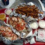 MASSIVE amounts of lobster.  Sweet potato fries seen here as well