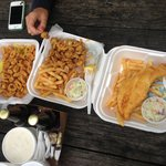 Fried clams, calamari with peppers, fish and chips