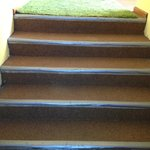 The stairways fixed with plastic bands