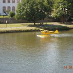 Seaplane using the river