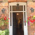 front door with happy guests